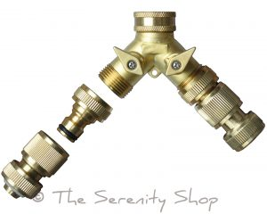Darlac Hosepipe 2 Way Brass Y Connector Manifold Tap Kit
